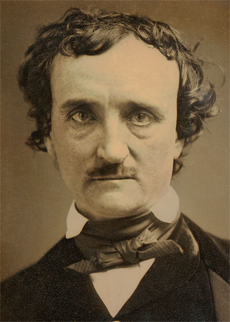 A daguerreotype portrait of Edgar Allan Poe from 1849.