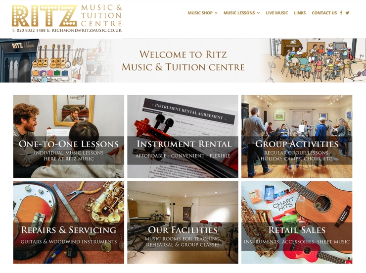 Ritz Music, Richmond, website photography Cristina Schek