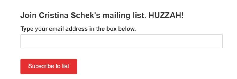 Cristina Schek Mailinglist form
